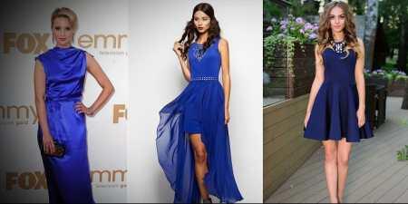 2dca2a6384cfcf Плаття синього кольору часто вдягають з витонченими болеро, пальто  кейп-силуету, норковими шубами, шкіряними куртками, текстильними бомберами,  ...